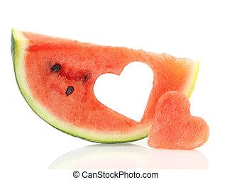 Watermelon slice with heart shape hole