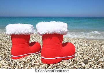 Claus, playa,  santa, botas