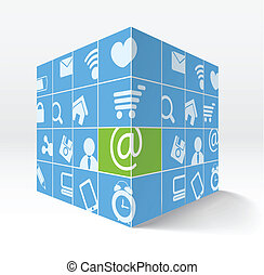 Illustration of 3d cube with media icons on its sides