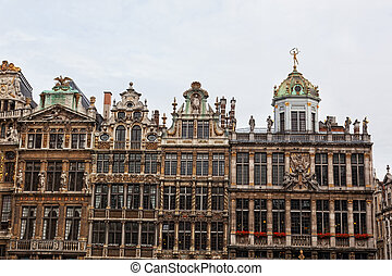 Ancient buildings in the center of Brussels, Belgium