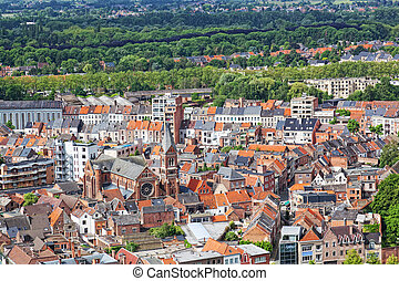 View of the city of Malines (Mechelen) from height of bird's...