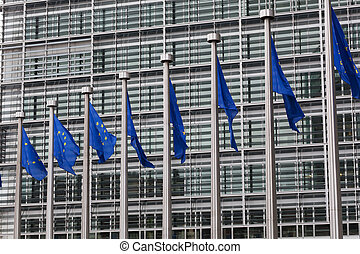 European Union flags against the European Parliament...