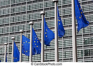 European Union flags against the European Parliament...
