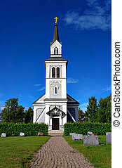 wooden country church - Beautiful wooden country church with...