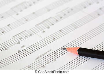 Pencil and music sheet