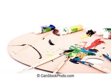 パレット, 芸術, 木製である, ペンキ, ブラシ, 背景, 白