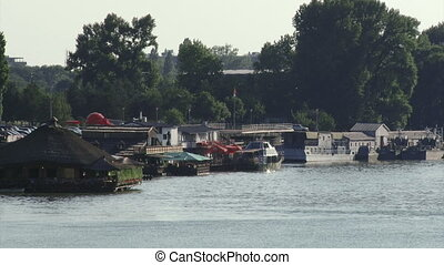 Belgrade, Danube river, restaurants and boats