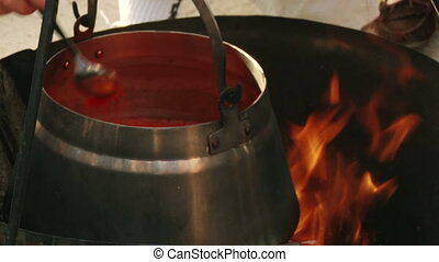 Food Fish soup, cauldron - Fish soup, cauldron, fire, close