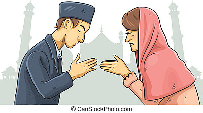 Ramadan Forgiveness - cartoon illustration of celebration...