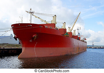 Vessel - The cargo ship costs at a mooring