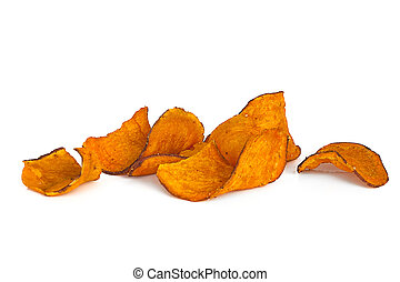 Sweet Potato Chips over White