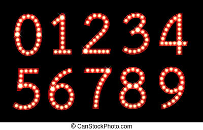 Set of broadway light bulb numbers isolated on a black...