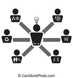 Organizational corporate teamwork chart vector illustrated