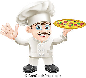 Italian pizza chef cartoon - Cartoon happy waving Italian...