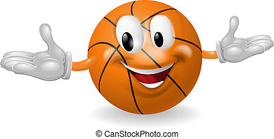 Basket Ball Man - Illustration of a cute happy basketball...