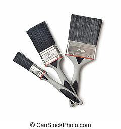 set of paint brushes on white background