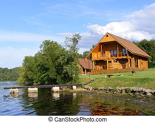Wooden cottage near the lake