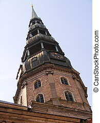 Saint Peter church spire - Saint Peter church in Riga,...