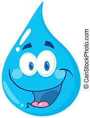 Water Drop Cartoon Character - Happy Water Drop Cartoon...