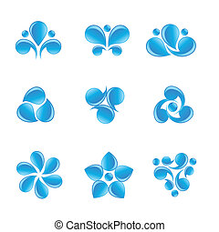 Nature blue water icons - Set of vector nature blue water...