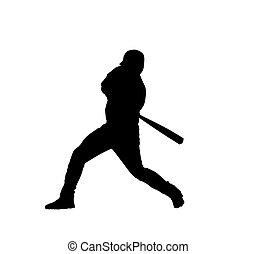Silhouette of baseball player - Black silhouette of baseball...
