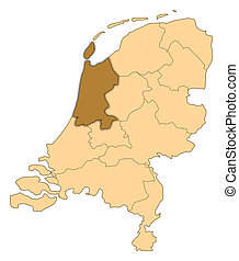 Map of Netherlands, North Holland highlighted - Map of...
