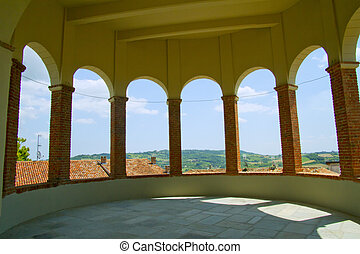 Castle - View of landscape from inside a tower of a castle