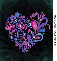 Abstract heart colorful Vector - Heart Swirls in the Shape...