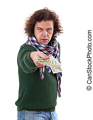 man stretches out his hand with dollar bills