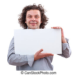 40 year old man holding a white board, isolated on white...