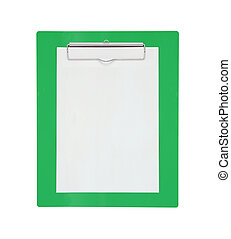 Clipboard with blank paper isolated on white