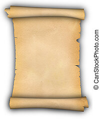 Scroll of parchment. - Antique scrollof parchment on a white...