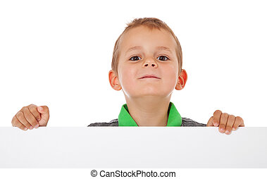 Boy behind white wall - Cute litte boy behind white wall....