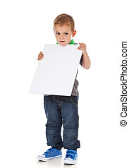 Boy holding blank white sign - Full length shot of a cute...
