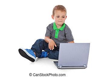 男孩, 使用, 電腦
