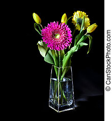 Bright flower bouquet in glass vase isolated over black...