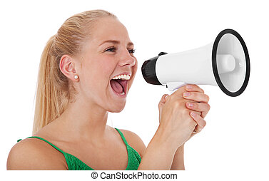Woman with megaphone - Attractive teenage girl using...