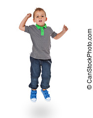 Jumping boy - Full length shot of a cute little boy jumps...