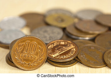close up of coins of the japanese currency - The close up of...