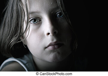 Sad Child - Low Key Shot of Sad Child