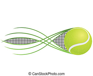 Tennis emblem and symbols isolated on white background
