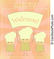 Design of kids menu with chefs in Retro Style - vector...