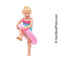 inflable, Traje de baño, bebé, niña, juego, anillo