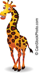 cute giraffe cartoon - vector illustration of giraffe...