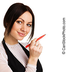 Cute businesswoman writing with a marker