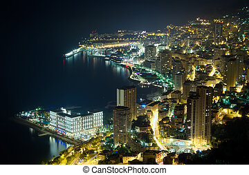Monaco, Monte Carlo by night - aerial view of Monaco, Monte...