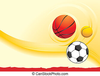 Sporting balls on the yellow background. Vector illustration