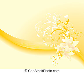 Floral ornament with lilies on the yellow background. Vector...