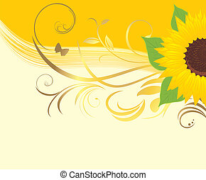 Sunflower with floral ornament on the yellow background....
