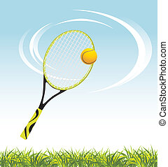 Tennis racket with ball above a grass. Vector illustration